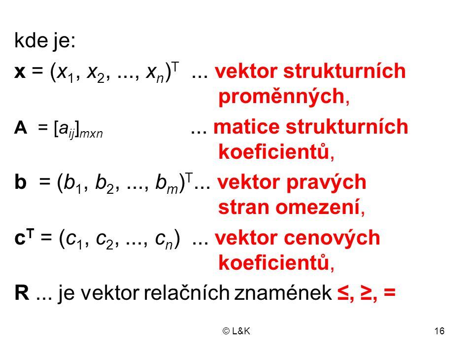 © L&K16 kde je: x = (x 1, x 2,..., x n ) T...vektor strukturních proměnných, A = [a ij ] mxn...