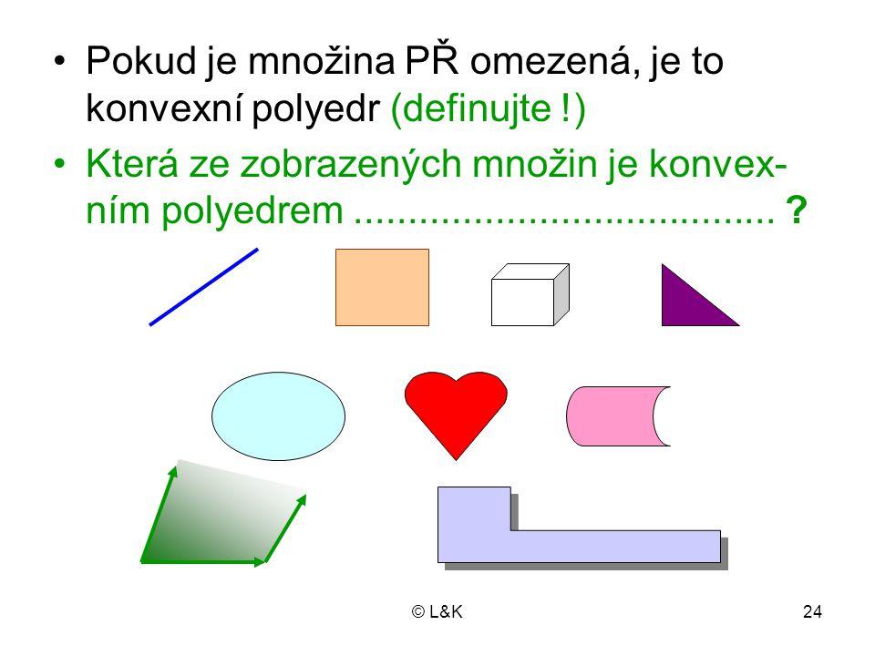 © L&K24 Pokud je množina PŘ omezená, je to konvexní polyedr (definujte !) Která ze zobrazených množin je konvex- ním polyedrem.......................................