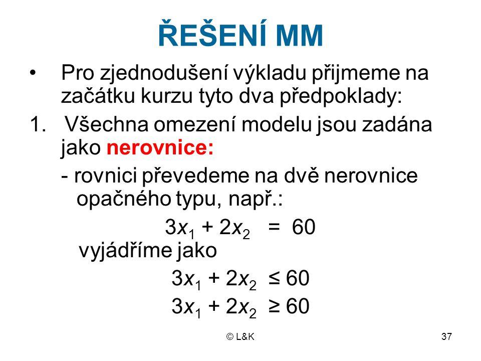 © L&K37 ŘEŠENÍ MM Pro zjednodušení výkladu přijmeme na začátku kurzu tyto dva předpoklady: 1.