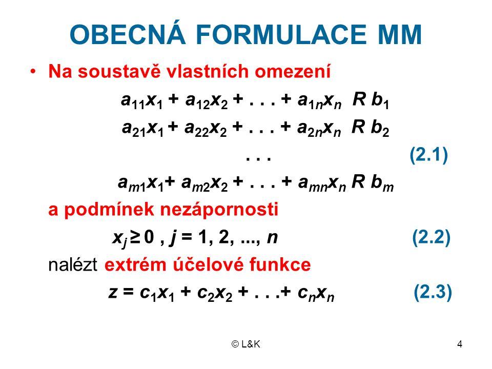 © L&K4 OBECNÁ FORMULACE MM Na soustavě vlastních omezení a 11 x 1 + a 12 x 2 +...