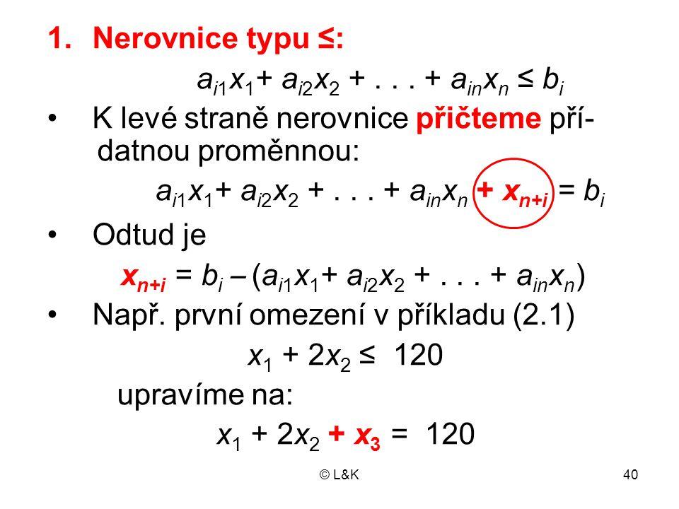© L&K40 1.Nerovnice typu ≤: a i1 x 1 + a i2 x 2 +...