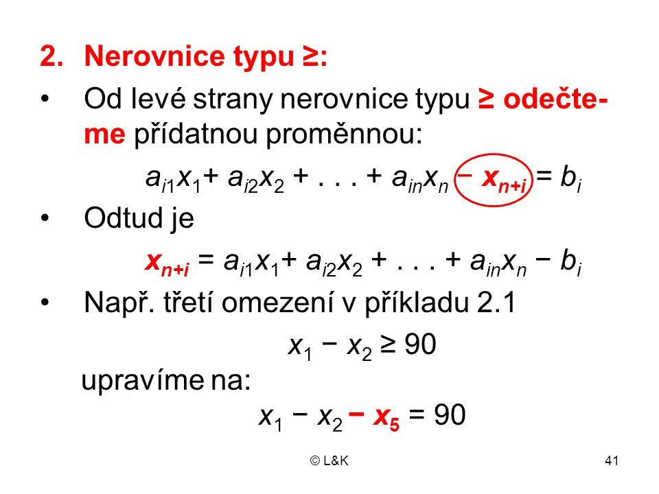 © L&K41 2.Nerovnice typu ≥: Od levé strany nerovnice typu ≥ odečte- me přídatnou proměnnou: a i1 x 1 + a i2 x 2 +...