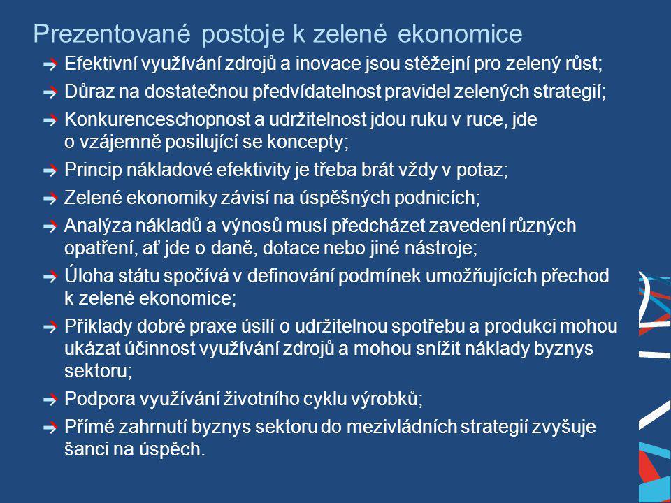 Ing. Martin Kocourek ministr průmyslu a obchodu ZPĚT NA VRCHOL – INSTITUCE, INOVACE A INFRASTRUKTURA Prezentované postoje k zelené ekonomice Efektivní