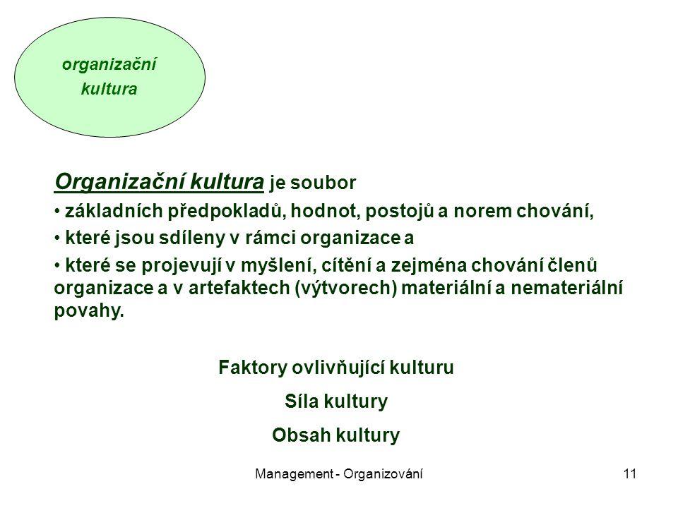 Management - Organizování11 Organizační kultura je soubor základních předpokladů, hodnot, postojů a norem chování, které jsou sdíleny v rámci organizace a které se projevují v myšlení, cítění a zejména chování členů organizace a v artefaktech (výtvorech) materiální a nemateriální povahy.