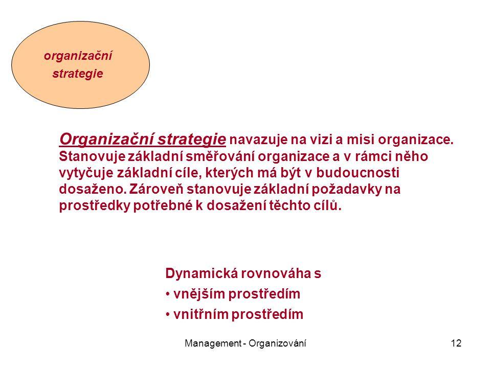 Management - Organizování12 organizační strategie Organizační strategie navazuje na vizi a misi organizace.
