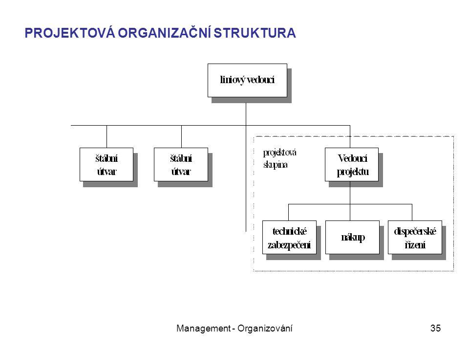 Management - Organizování35 PROJEKTOVÁ ORGANIZAČNÍ STRUKTURA