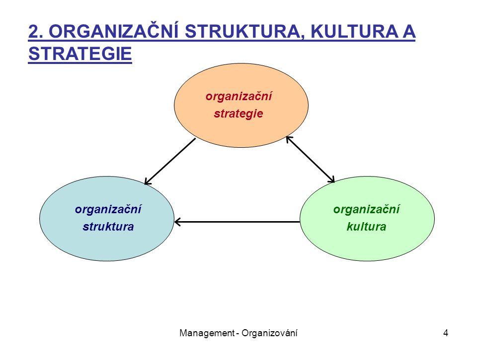 Management - Organizování4 organizační strategie organizační struktura organizační kultura 2.