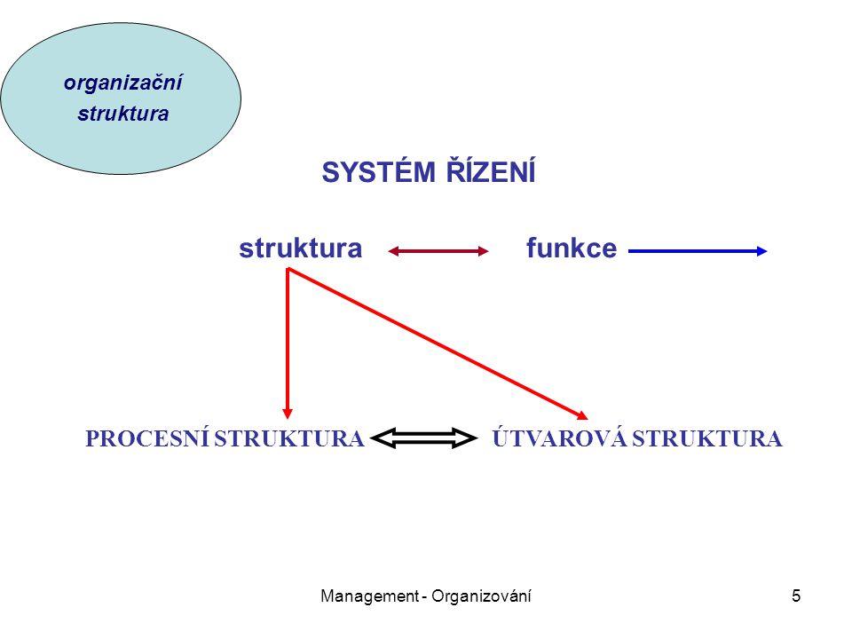 Management - Organizování5 SYSTÉM ŘÍZENÍ struktura funkce PROCESNÍ STRUKTURA ÚTVAROVÁ STRUKTURA organizační struktura
