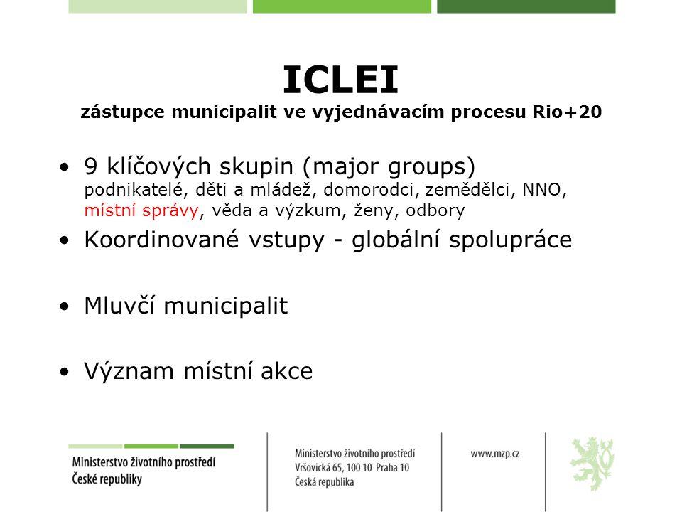 ICLEI zástupce municipalit ve vyjednávacím procesu Rio+20 9 klíčových skupin (major groups) podnikatelé, děti a mládež, domorodci, zemědělci, NNO, místní správy, věda a výzkum, ženy, odbory Koordinované vstupy - globální spolupráce Mluvčí municipalit Význam místní akce