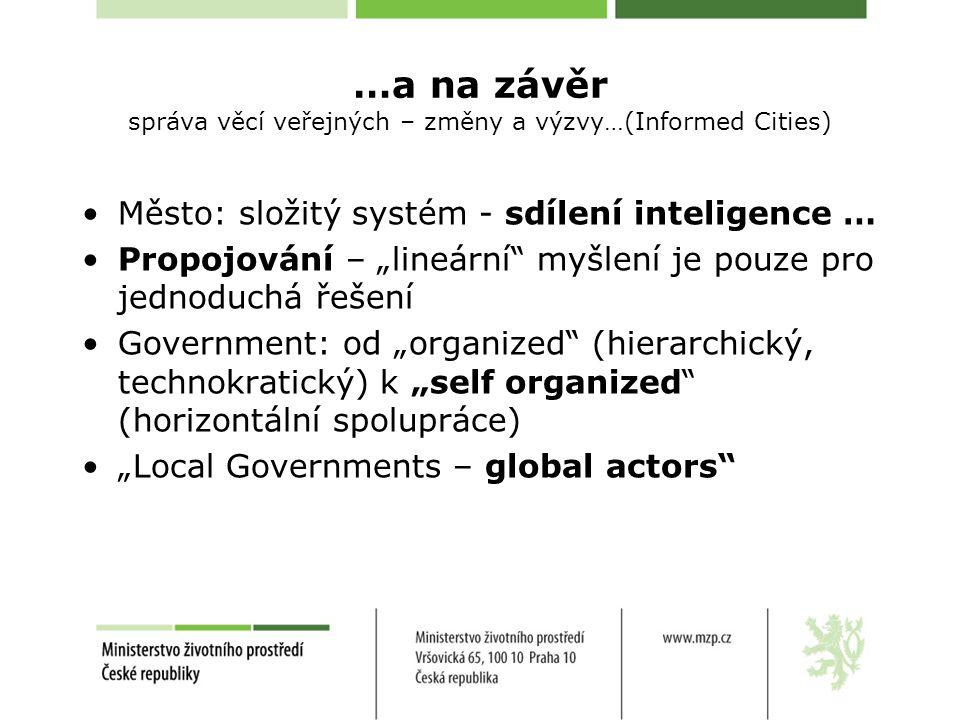 """…a na závěr správa věcí veřejných – změny a výzvy…(Informed Cities) Město: složitý systém - sdílení inteligence … Propojování – """"lineární myšlení je pouze pro jednoduchá řešení Government: od """"organized (hierarchický, technokratický) k """"self organized (horizontální spolupráce) """"Local Governments – global actors"""