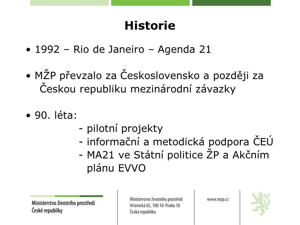 Historie 1992 – Rio de Janeiro – Agenda 21 MŽP převzalo za Československo a později za Českou republiku mezinárodní závazky 90.