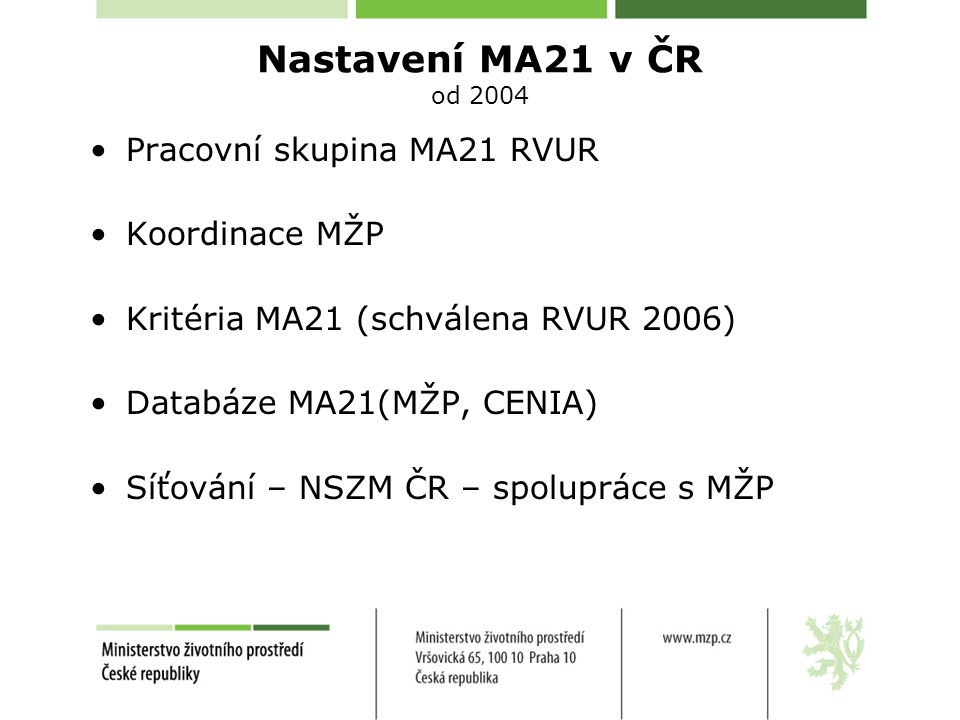 Nastavení MA21 v ČR od 2004 Pracovní skupina MA21 RVUR Koordinace MŽP Kritéria MA21 (schválena RVUR 2006) Databáze MA21(MŽP, CENIA) Síťování – NSZM ČR – spolupráce s MŽP