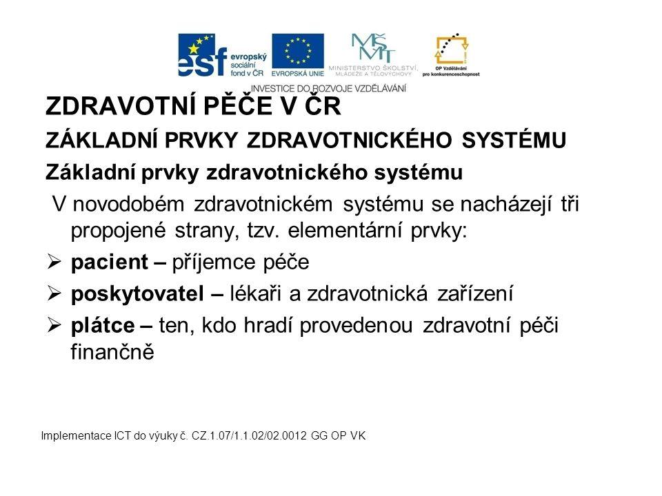 ZDRAVOTNÍ PĚČE V ČR ZÁKLADNÍ PRVKY ZDRAVOTNICKÉHO SYSTÉMU Základní prvky zdravotnického systému V novodobém zdravotnickém systému se nacházejí tři pro