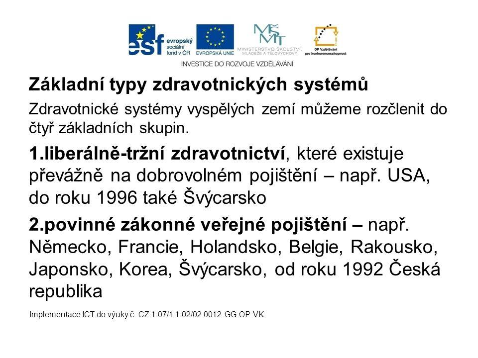 Základní typy zdravotnických systémů Zdravotnické systémy vyspělých zemí můžeme rozčlenit do čtyř základních skupin. 1.liberálně-tržní zdravotnictví,