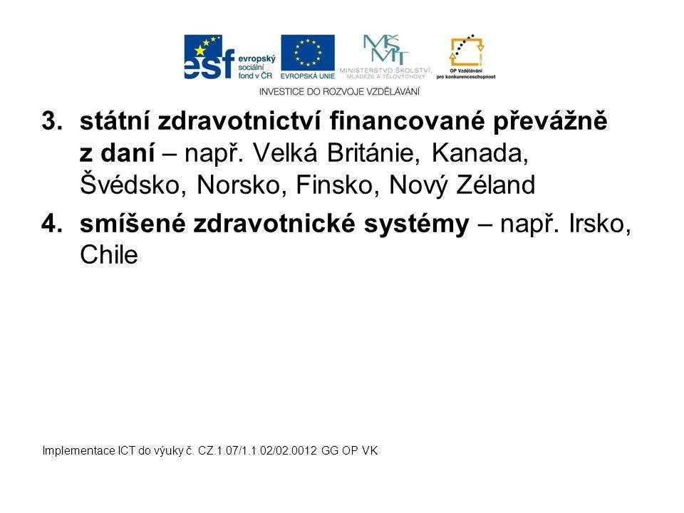 3.státní zdravotnictví financované převážně z daní – např. Velká Británie, Kanada, Švédsko, Norsko, Finsko, Nový Zéland 4.smíšené zdravotnické systémy
