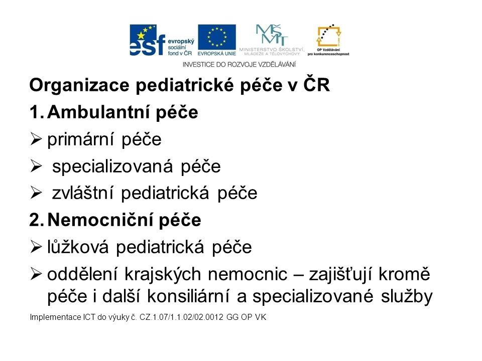 Organizace pediatrické péče v ČR 1.Ambulantní péče  primární péče  specializovaná péče  zvláštní pediatrická péče 2.Nemocniční péče  lůžková pedia