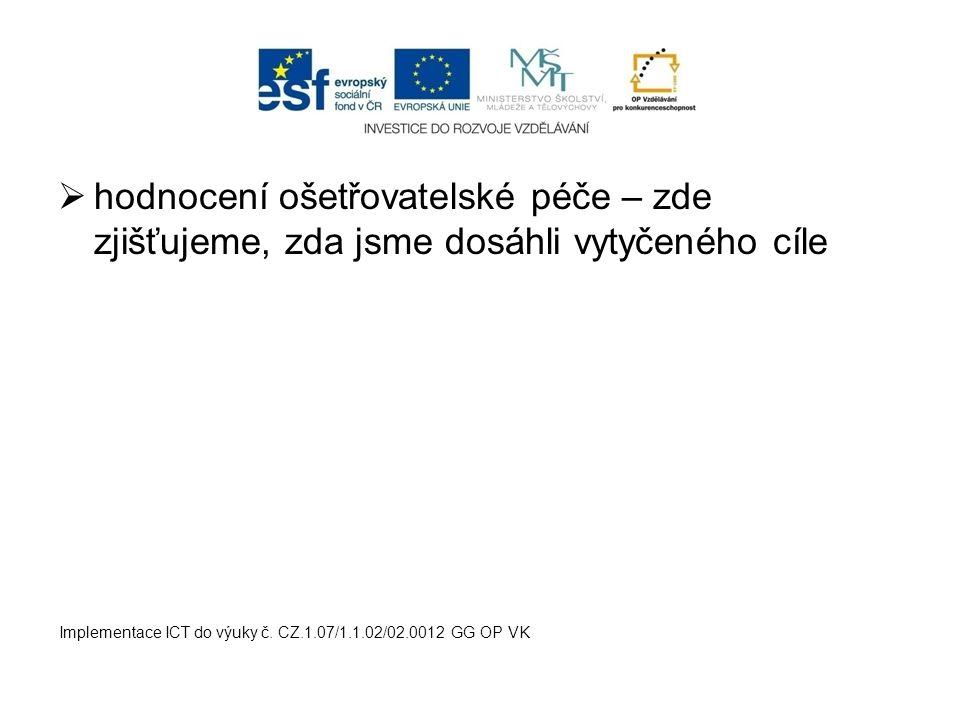  hodnocení ošetřovatelské péče – zde zjišťujeme, zda jsme dosáhli vytyčeného cíle Implementace ICT do výuky č. CZ.1.07/1.1.02/02.0012 GG OP VK