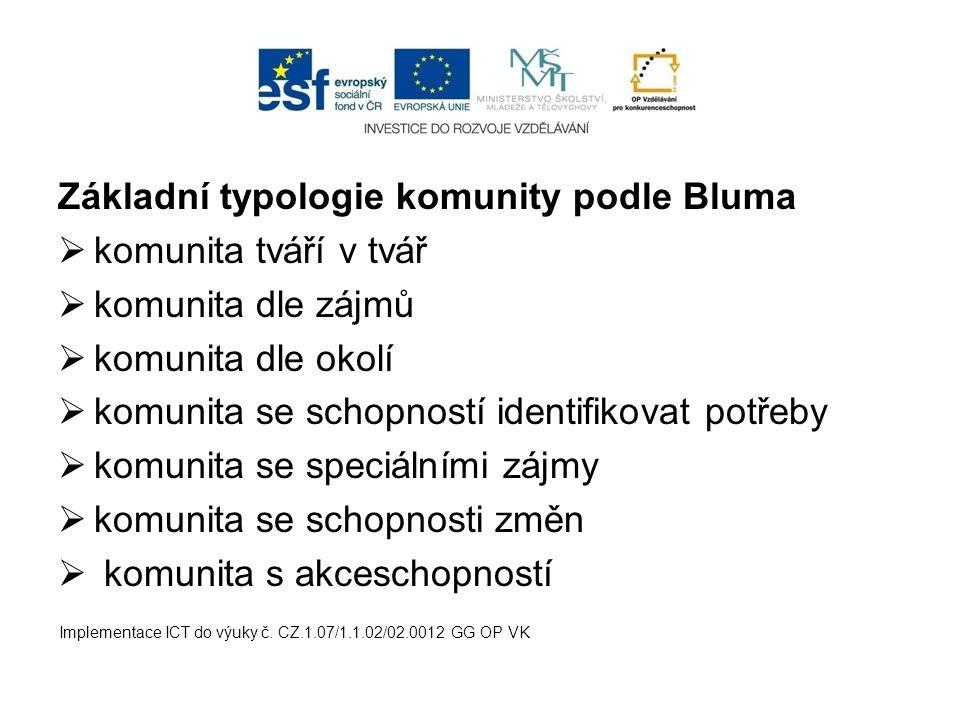 Základní typologie komunity podle Bluma  komunita tváří v tvář  komunita dle zájmů  komunita dle okolí  komunita se schopností identifikovat potře