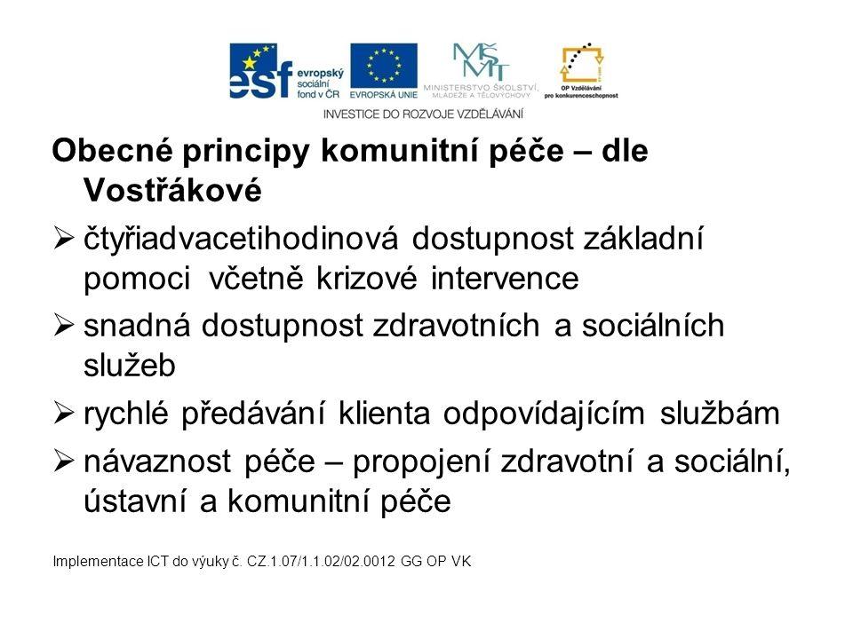 Obecné principy komunitní péče – dle Vostřákové  čtyřiadvacetihodinová dostupnost základní pomoci včetně krizové intervence  snadná dostupnost zdrav