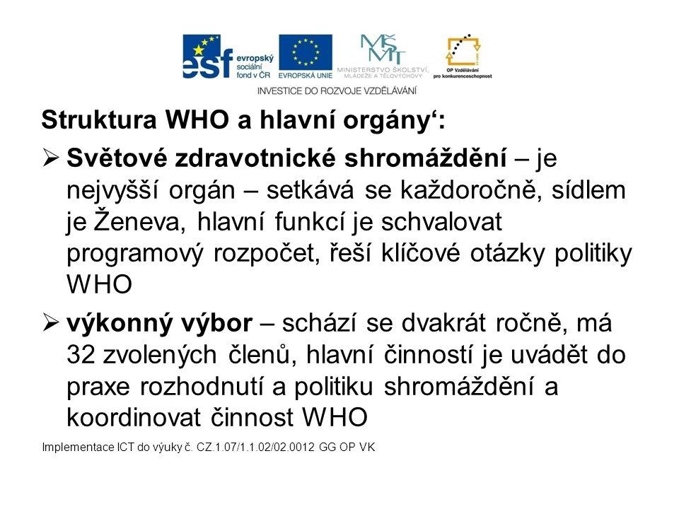 Struktura WHO a hlavní orgány':  Světové zdravotnické shromáždění – je nejvyšší orgán – setkává se každoročně, sídlem je Ženeva, hlavní funkcí je sch