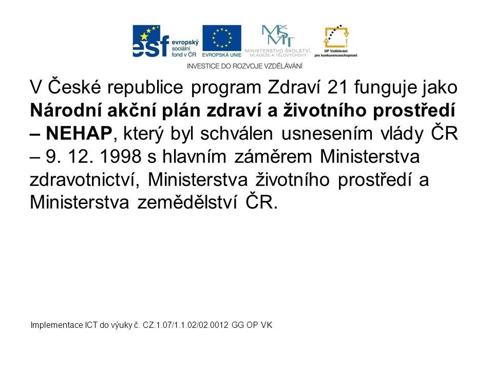 V České republice program Zdraví 21 funguje jako Národní akční plán zdraví a životního prostředí – NEHAP, který byl schválen usnesením vlády ČR – 9. 1