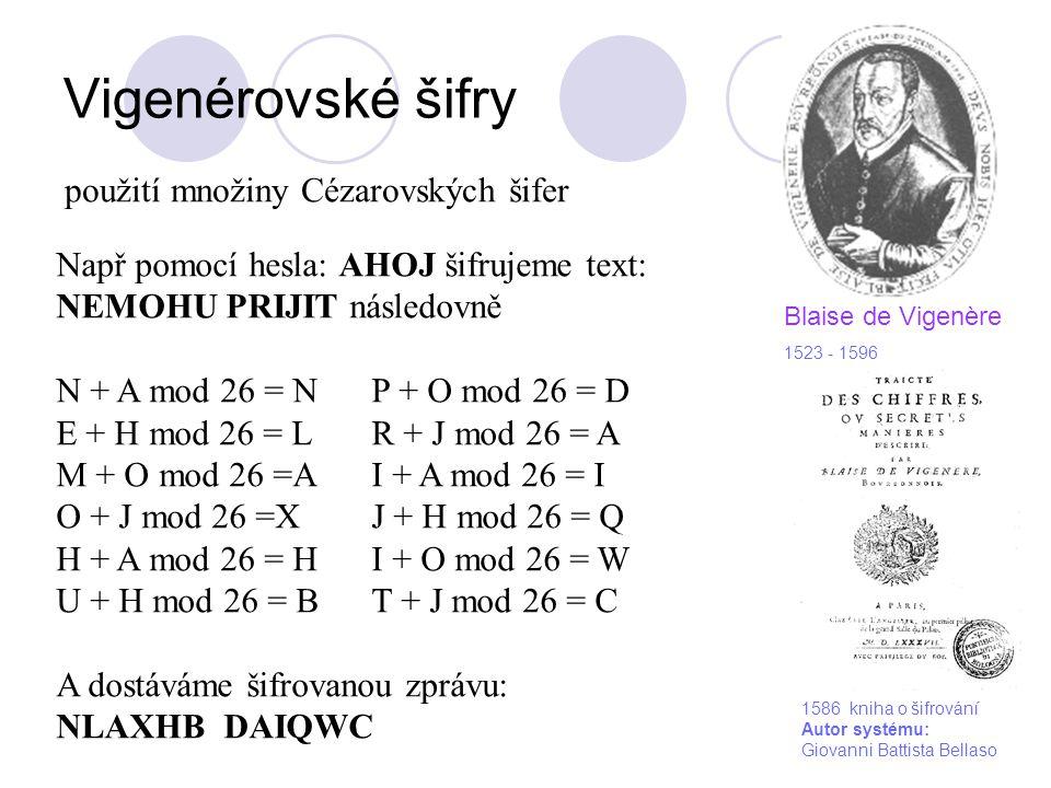 Vigenérovské šifry použití množiny Cézarovských šifer Např pomocí hesla: AHOJ šifrujeme text: NEMOHU PRIJIT následovně N + A mod 26 = NP + O mod 26 =
