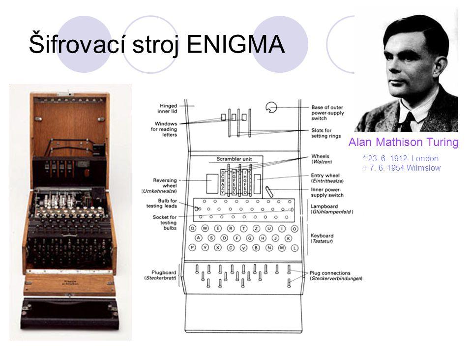Šifrovací stroj ENIGMA Alan Mathison Turing * 23. 6. 1912. London + 7. 6. 1954 Wilmslow