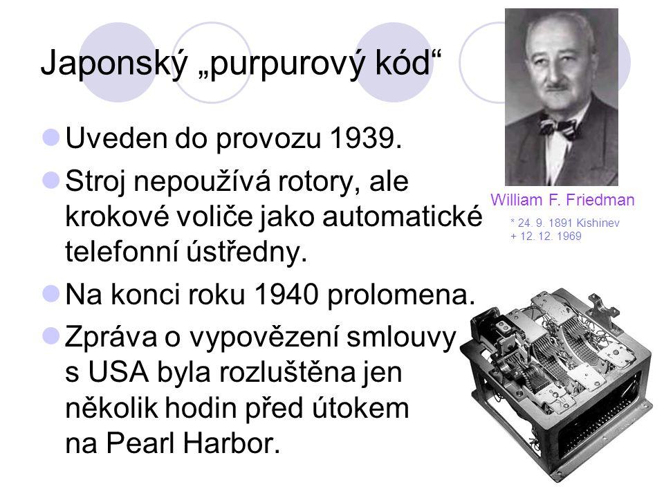 """Japonský """"purpurový kód"""" Uveden do provozu 1939. Stroj nepoužívá rotory, ale krokové voliče jako automatické telefonní ústředny. Na konci roku 1940 pr"""
