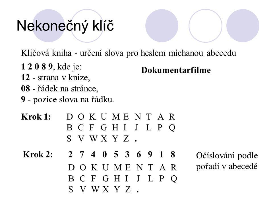 Nekonečný klíč Klíčová kniha - určení slova pro heslem míchanou abecedu 1 2 0 8 9, kde je: 12 - strana v knize, 08 - řádek na stránce, 9 - pozice slov