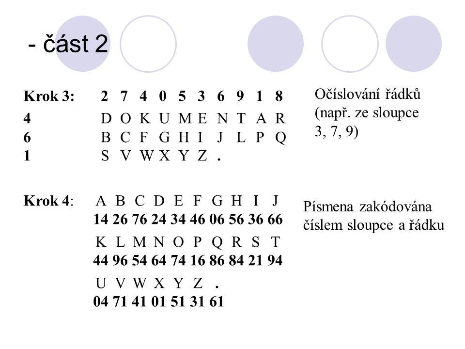 - část 2 Krok 3:2740536918 4DOKUMENTAR 6BCFGHIJLPQ 1SVWXYZ. Očíslování řádků (např. ze sloupce 3, 7, 9) Krok 4:ABCDEFGHIJ 14267624344606563666 KLMNOPQ