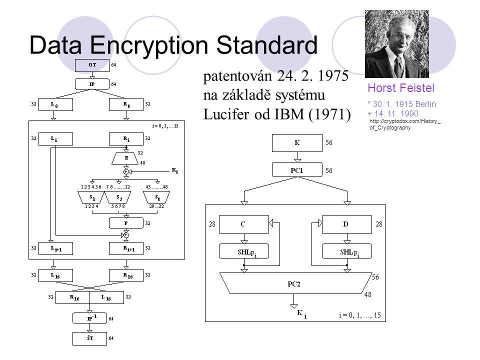 Data Encryption Standard patentován 24. 2. 1975 na základě systému Lucifer od IBM (1971) Horst Feistel * 30. 1. 1915 Berlin + 14. 11. 1990 http://cryp
