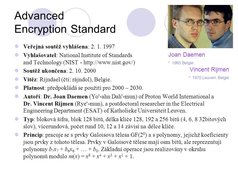 Advanced Encryption Standard Veřejná soutěž vyhlášena: 2. 1. 1997 Vyhlašovatel: National Institute of Standards and Technology (NIST - http://www.nist