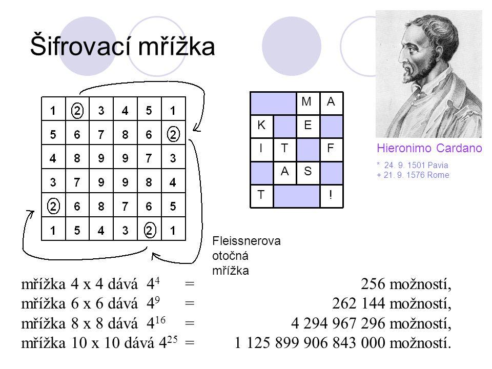Šifrovací mřížka mřížka 4 x 4 dává 4 4 =256 možností, mřížka 6 x 6 dává 4 9 =262 144 možností, mřížka 8 x 8 dává 4 16 = 4 294 967 296 možností, mřížka