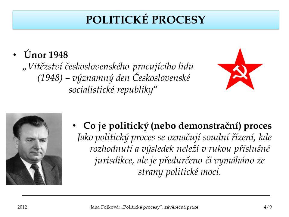 """POLITICKÉ PROCESY Únor 1948 """" Vítězství československého pracujícího lidu (1948) – významný den Československé socialistické republiky """" Co je politic"""