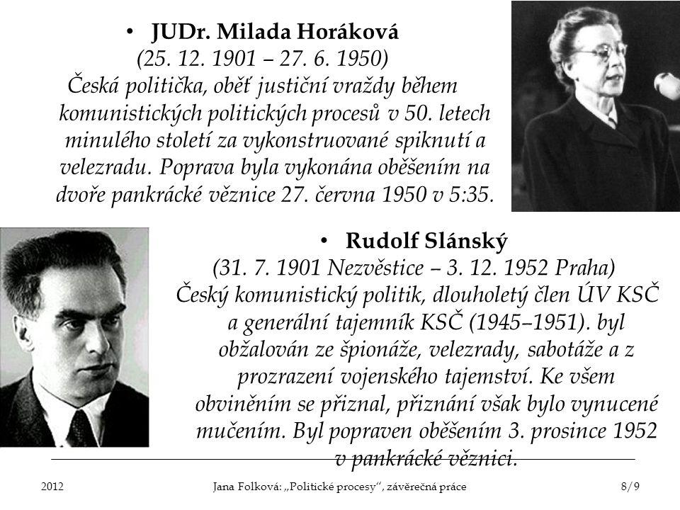 JUDr. Milada Horáková (25. 12. 1901 – 27. 6. 1950) Česká politička, oběť justiční vraždy během komunistických politických procesů v 50. letech minuléh