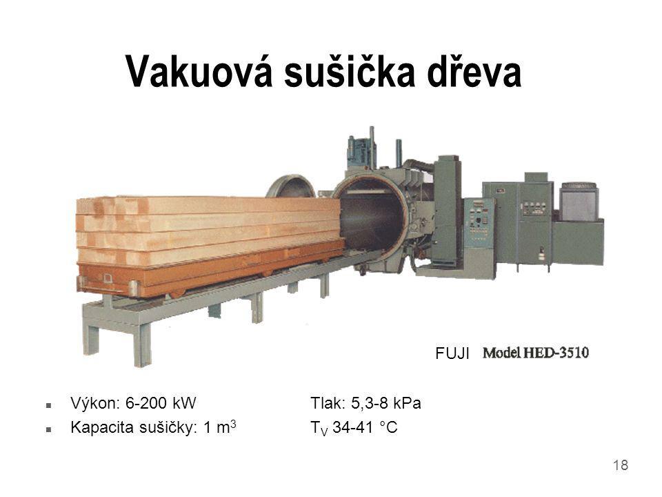 18 Vakuová sušička dřeva n Výkon: 6-200 kWTlak: 5,3-8 kPa n Kapacita sušičky: 1 m 3 T V 34-41 °C FUJI