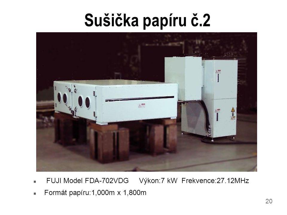 20 Sušička papíru č.2 n FUJI Model FDA-702VDG Výkon:7 kW Frekvence:27.12MHz n Formát papíru:1,000m x 1,800m