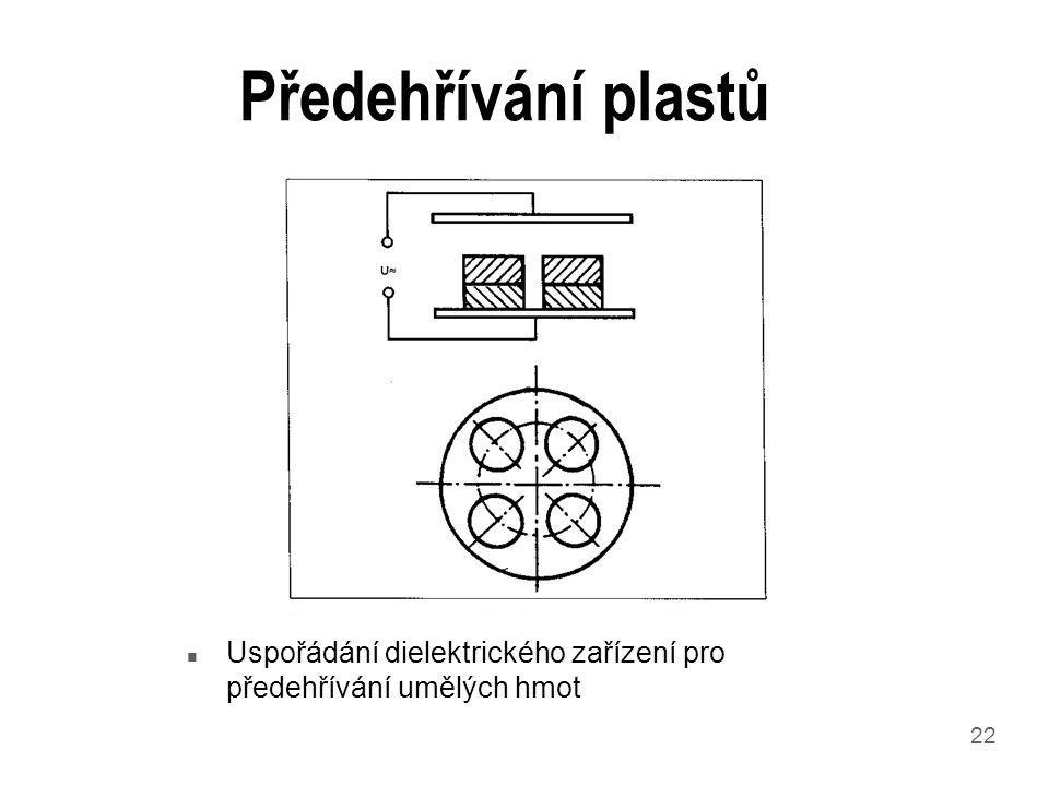 22 Předehřívání plastů n Uspořádání dielektrického zařízení pro předehřívání umělých hmot