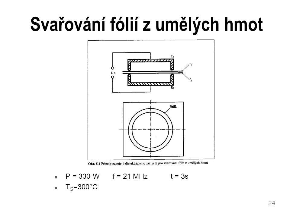 24 Svařování fólií z umělých hmot n P = 330 Wf = 21 MHz t = 3s n T S =300°C