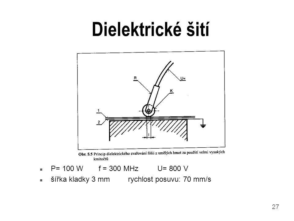 27 Dielektrické šití n P= 100 Wf = 300 MHzU= 800 V n šířka kladky 3 mmrychlost posuvu: 70 mm/s