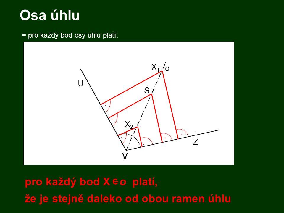 Osa úhlu = pro každý bod osy úhlu platí: V S Z V U S o..