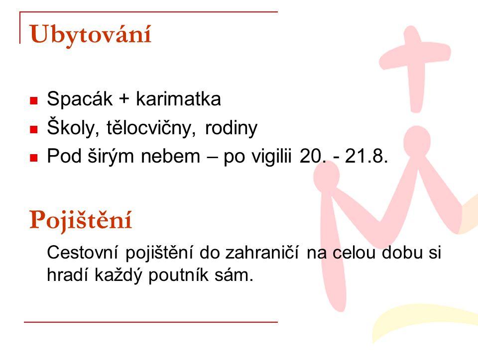 Ubytování Spacák + karimatka Školy, tělocvičny, rodiny Pod širým nebem – po vigilii 20.