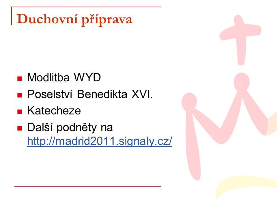 Duchovní příprava Modlitba WYD Poselství Benedikta XVI. Katecheze Další podněty na http://madrid2011.signaly.cz/ http://madrid2011.signaly.cz/