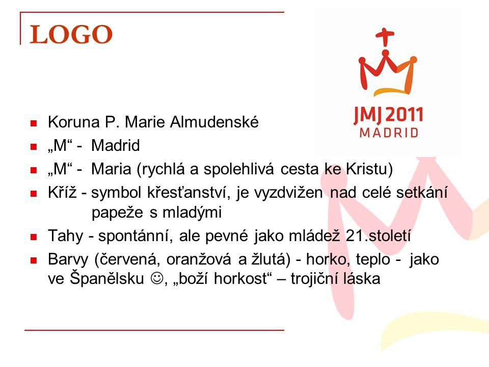 """LOGO Koruna P. Marie Almudenské """"M"""" - Madrid """"M"""" - Maria (rychlá a spolehlivá cesta ke Kristu) Kříž - symbol křesťanství, je vyzdvižen nad celé setkán"""