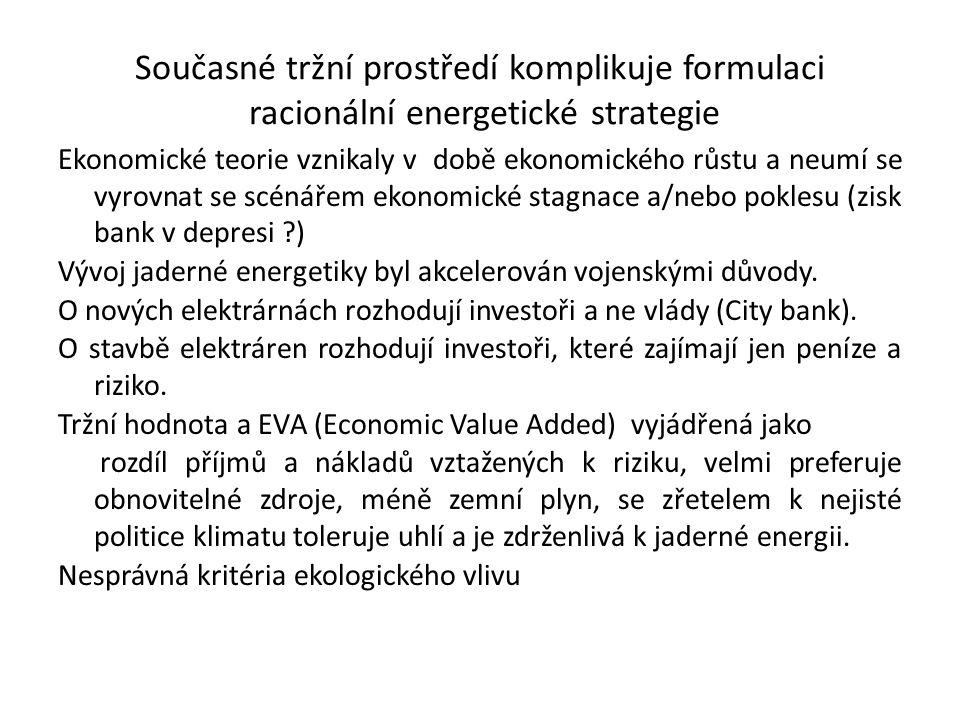 Současné tržní prostředí komplikuje formulaci racionální energetické strategie Ekonomické teorie vznikaly v době ekonomického růstu a neumí se vyrovna