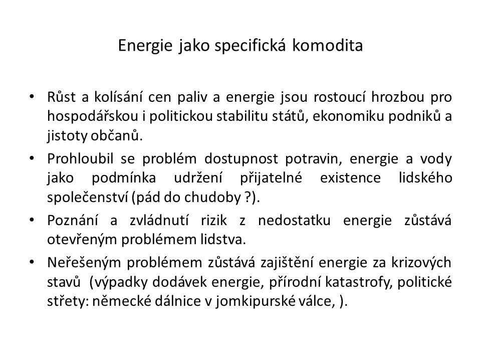 Energie jako specifická komodita Růst a kolísání cen paliv a energie jsou rostoucí hrozbou pro hospodářskou i politickou stabilitu států, ekonomiku po