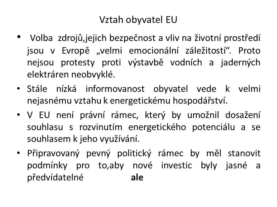 """Vztah obyvatel EU Volba zdrojů,jejich bezpečnost a vliv na životní prostředí jsou v Evropě """"velmi emocionální záležitostí"""". Proto nejsou protesty prot"""