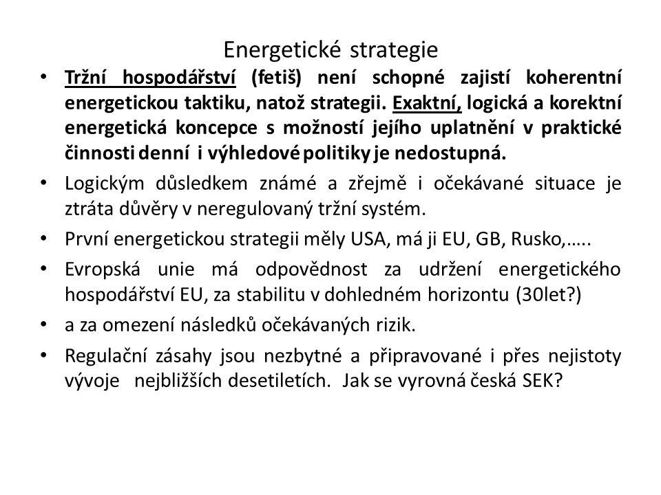 Energetické strategie Tržní hospodářství (fetiš) není schopné zajistí koherentní energetickou taktiku, natož strategii. Exaktní, logická a korektní en