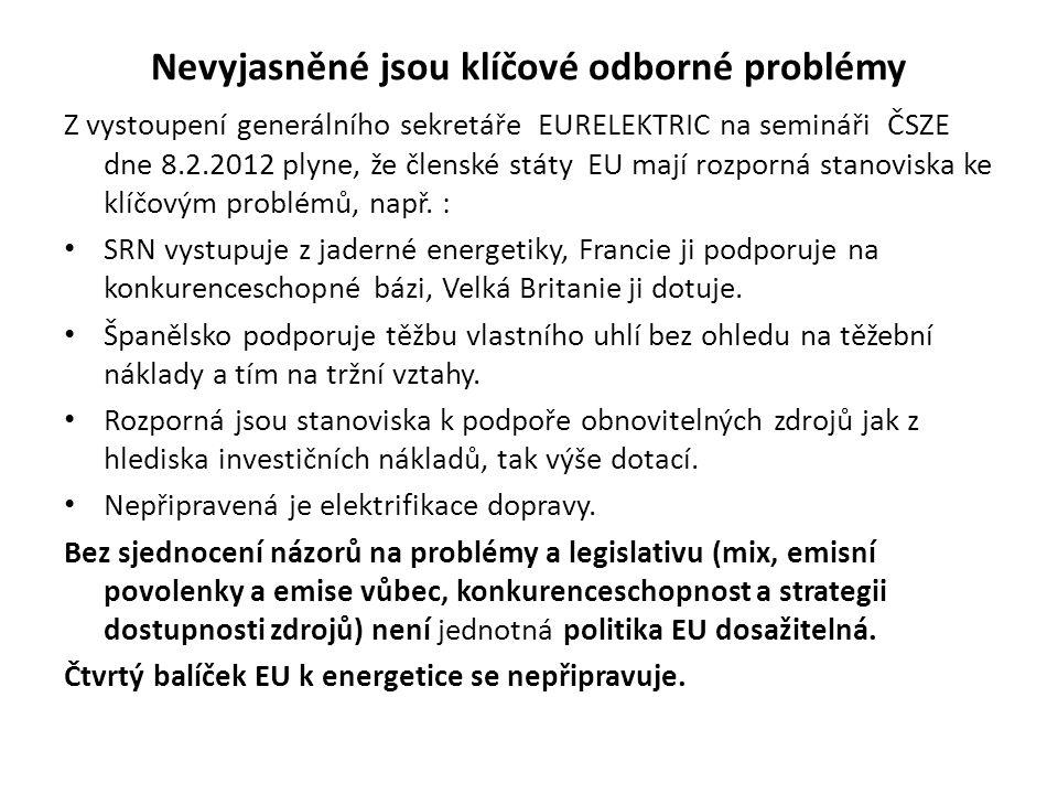 Nevyjasněné jsou klíčové odborné problémy Z vystoupení generálního sekretáře EURELEKTRIC na semináři ČSZE dne 8.2.2012 plyne, že členské státy EU mají