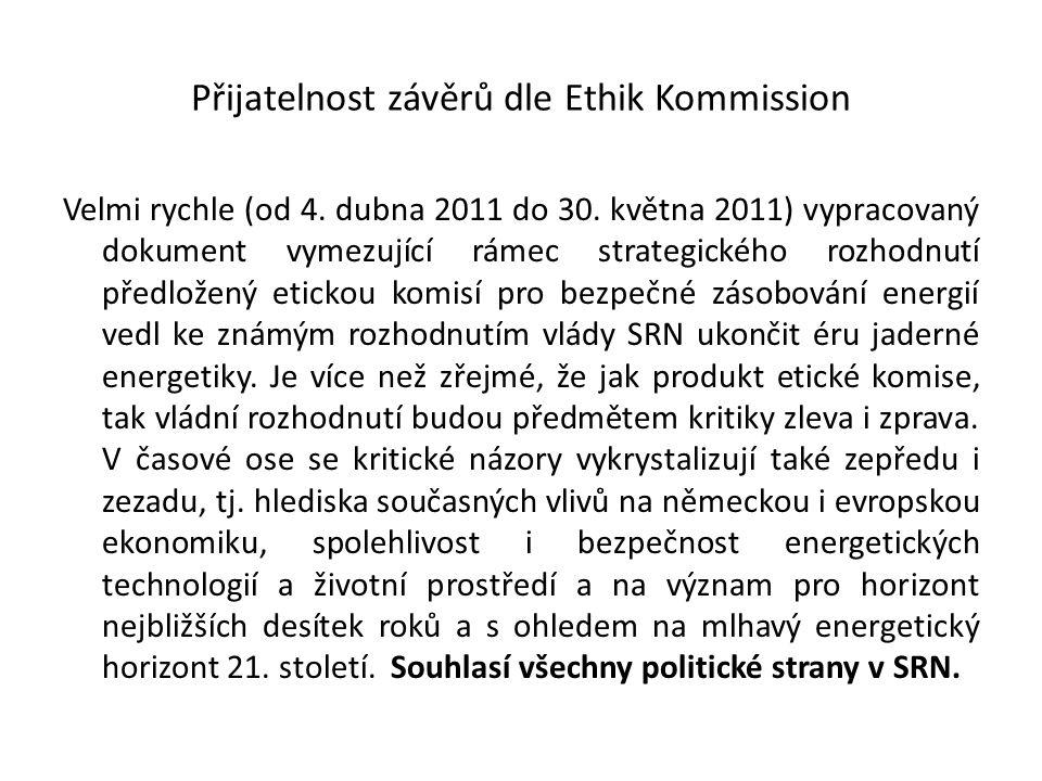 Přijatelnost závěrů dle Ethik Kommission Velmi rychle (od 4. dubna 2011 do 30. května 2011) vypracovaný dokument vymezující rámec strategického rozhod
